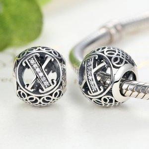 Talisman din argint cu litera X