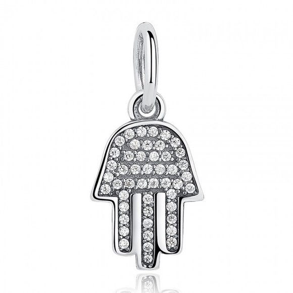 Talisman din argint cu Mana Hamsa si Cristale