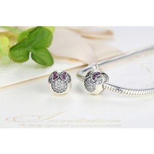 Talisman din argint cu Minnie si Cristale Colorate