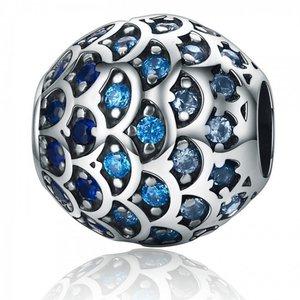 Talisman din argint cu Paiete Albastre