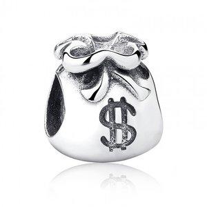 Talisman din argint patinat cu Punguta cu Dolari