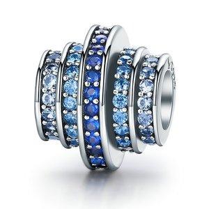 Talisman din argint cu Rotite si Cristale Albastre