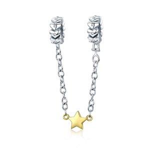 Talisman din argint cu Steluta Aurie si Lantisor de Siguranta