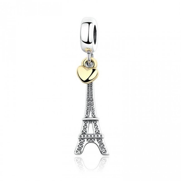Talisman din argint cu Turnul Eiffel si Inimioara Aurie