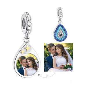 Talisman din argint Custom Photo Blue Fatima Drop