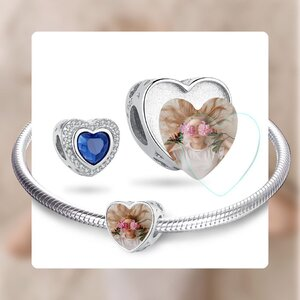 Talisman din argint Custom Photo Blue Heart