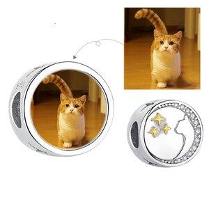 Talisman din argint Custom Photo Cat and Stars