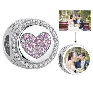 Talisman din argint Custom Photo Heart and Crystals