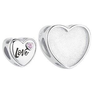 Talisman din argint Custom Photo Heart Love