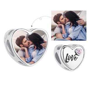 Talisman din argint Custom Photo Heart Love