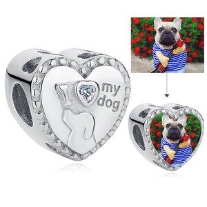 Talisman din argint Custom Photo I Love My Dog