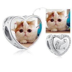 Talisman din argint Custom Photo Lady Cat