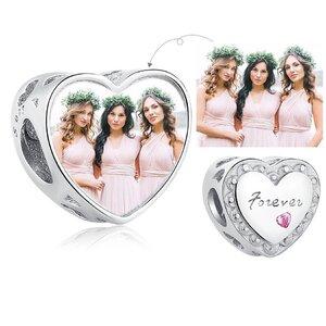 Talisman din argint Custom Photo Love Forever