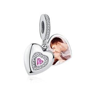 Talisman din argint Custom Photo Open Heart