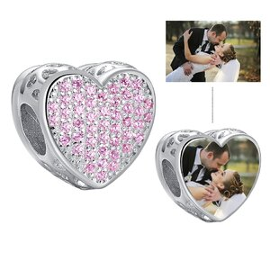 Talisman din argint Custom Photo Pink Crystal Heart
