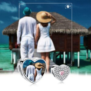Talisman din argint Custom Photo Pink Heart