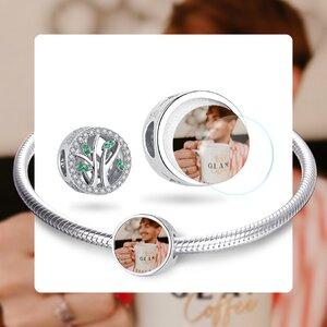Talisman din argint Custom Photo Silver Green Tree