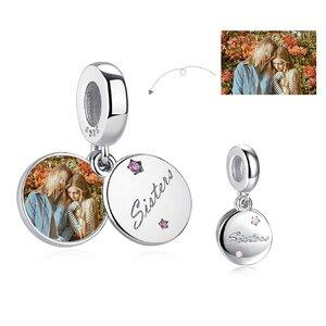 Talisman din argint Custom Photo Sisters