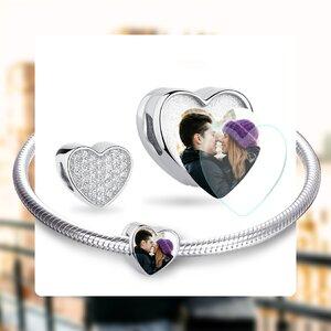 Talisman din argint Custom Photo Sparkling Heart