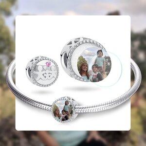 Talisman din argint Custom Photo Trio Family