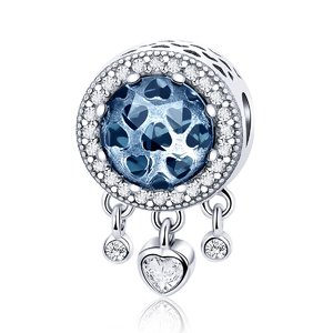 Talisman din argint Dangle Blue Hearts