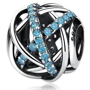 Talisman din argint Decupat cu Cristale Bleu