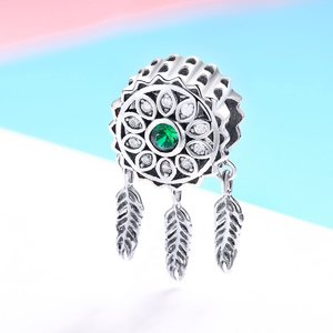 Talisman din argint Dream Catcher green