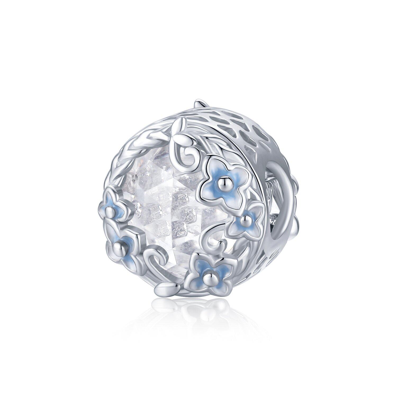Talisman din argint Elegant Blue Flowers