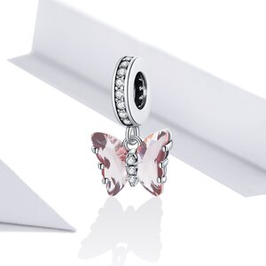 Talisman din argint Elegant Pink Butterfly