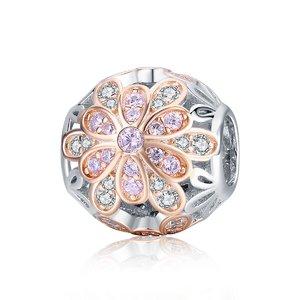 Talisman din argint Esquisite Pink Flower