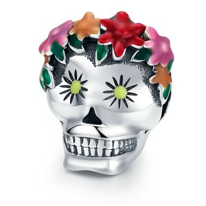 Talisman din argint Flowers and Skull