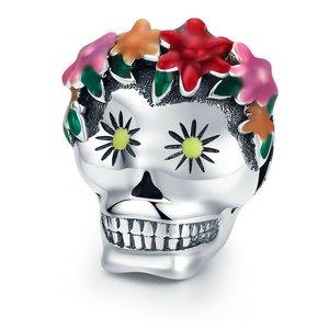 Talisman din argint Flowers and Skull