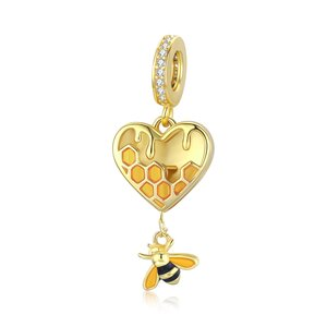 Talisman din argint Golden Heart Bee