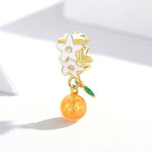 Talisman din argint Golden Orange Flower