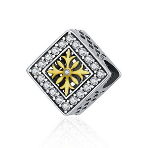Talisman din argint Golden Snowflake