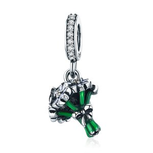 Talisman din argint Green Flower Bouquet