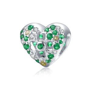 Talisman din argint Green Heart Clover