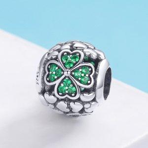 Talisman din argint Green Lucky Clover
