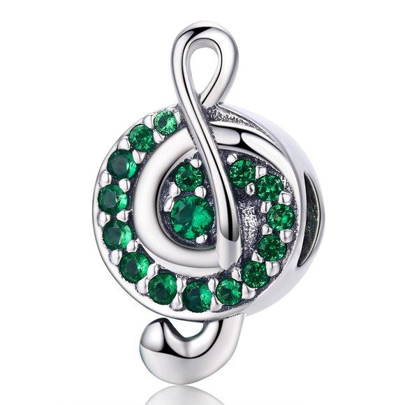 Talisman din argint Green Music Note