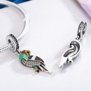 Talisman din argint Green Parrot