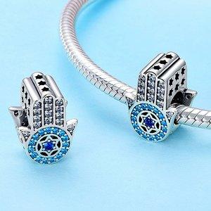 Talisman din argint Hamsa si Cristale turquoise