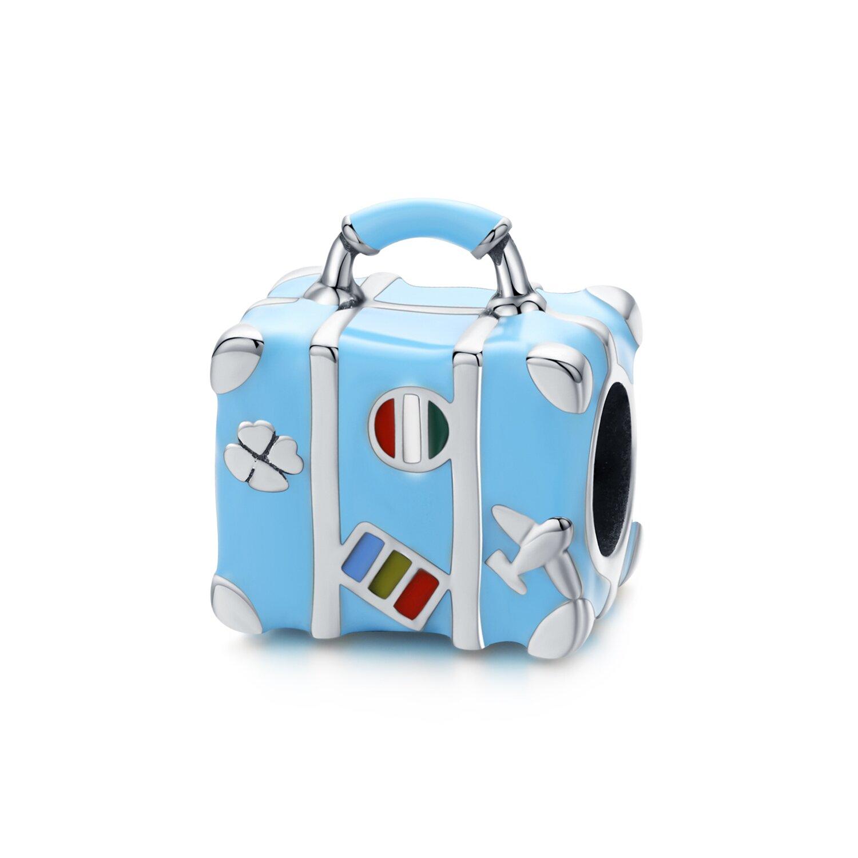 Talisman din argint Happy Blue Suitcase poza 2021