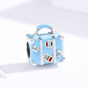 Talisman din argint Happy Blue Suitcase