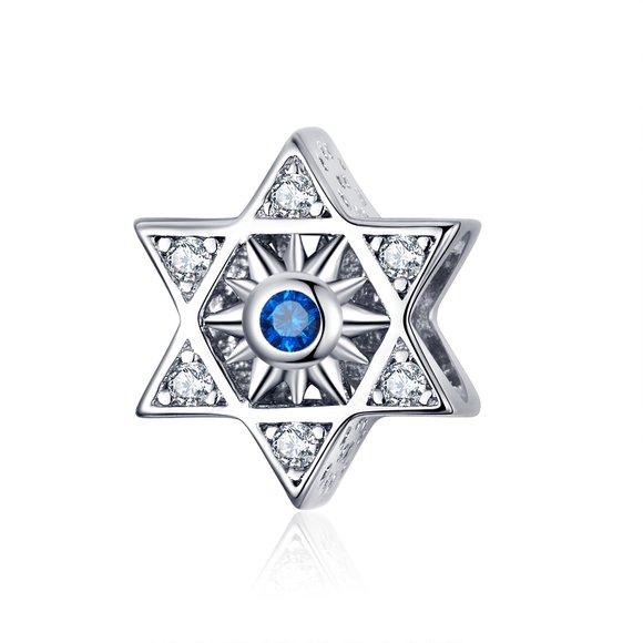 Talisman din argint Hexagram Blue Star
