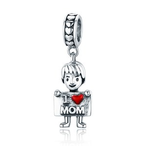 Talisman din argint I Love Mom - Boy