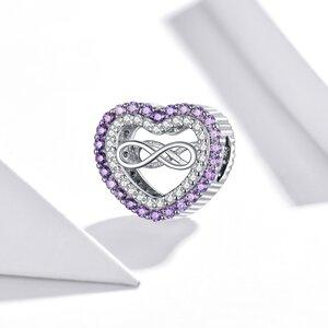 Talisman din argint Infinity Purple Heart