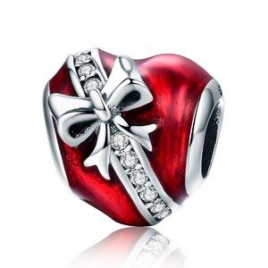 Talisman din argint Inima rosie cu Fundita