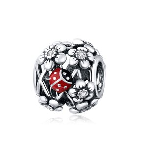 Talisman din argint Ladybug & Flowers Bead