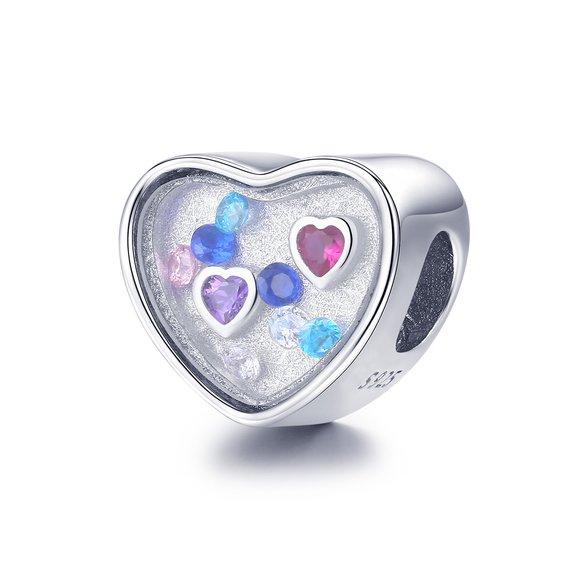 Talisman din argint Little Colorful Hearts