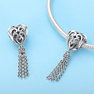 Talisman din argint Long Tassel Heart